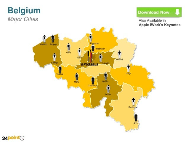 Easy to Edit PPT Map of Belgium – Map of Belgium with Cities