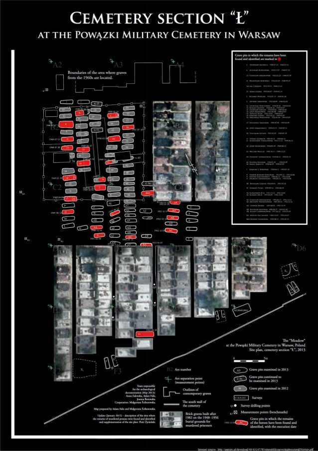 """Map of Cemetery section """"Ł"""" at the Powązki Military Cemetery in Warsaw"""