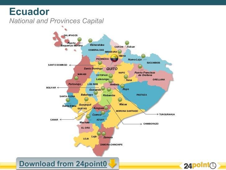 Map Of Ecuador Editable PowerPoint - Ecuador provinces map