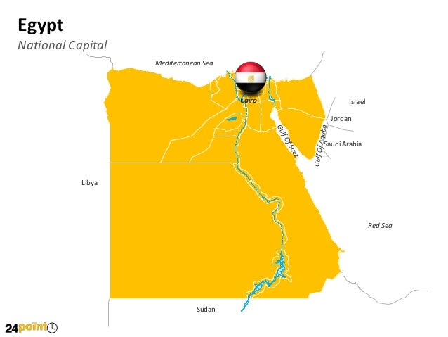 Editable PowerPoint Map Of Egypt - Map of egypt with capital