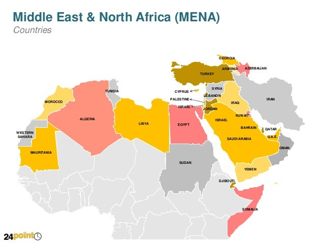 Map of Middle East and North Africa MENA Editable PowerPoint Slid