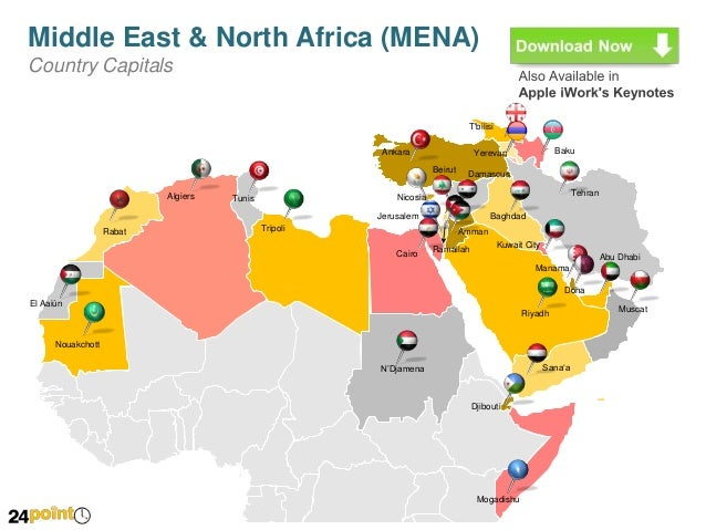 Map of Middle East and North Africa (MENA) - Editable PowerPoint Slid…