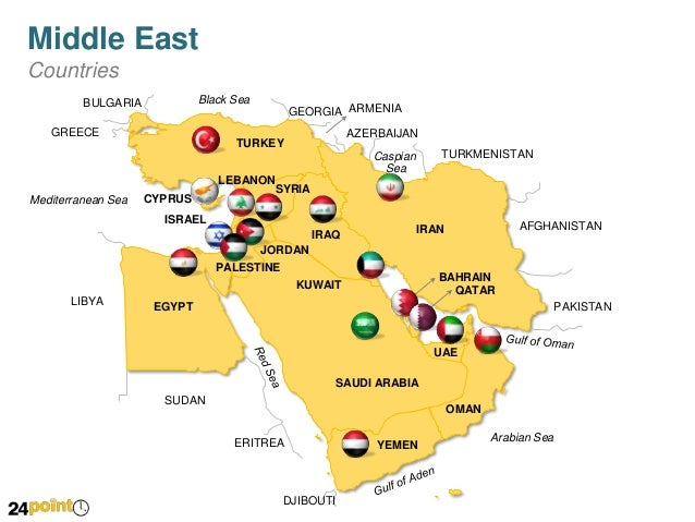 Middle East Countries PowerPoint Map