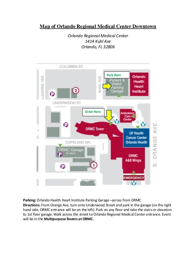 Map of Orlando Regional Medical Center Downtown