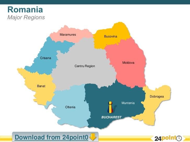 Customizable Powerpoint Map Of Romania