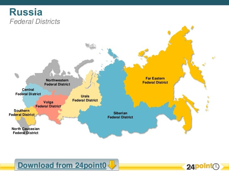 Easy to Edit PowerPoint Map of Russia