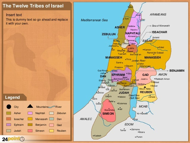 The 12 Tribes of Israel Map - PowerPoint Map  Tribes Of Israel Today Map on