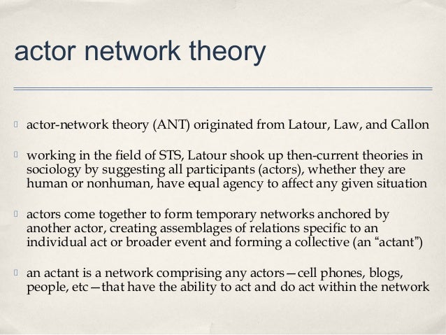 potential of actor network theory for theory 26 using actor-network theory to analyze the construction of teachers have been intrigued by the potential of the term actor network theory was devised.