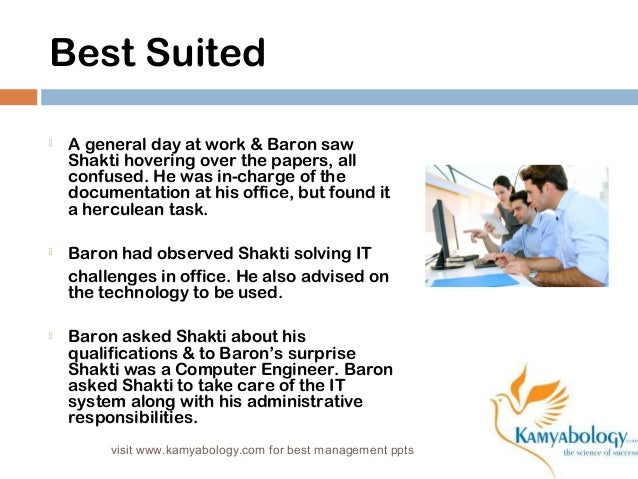 Best Suited   A general day at work & Baron saw  Shakti hovering over the papers, all  confused. He was in-charge of the ...