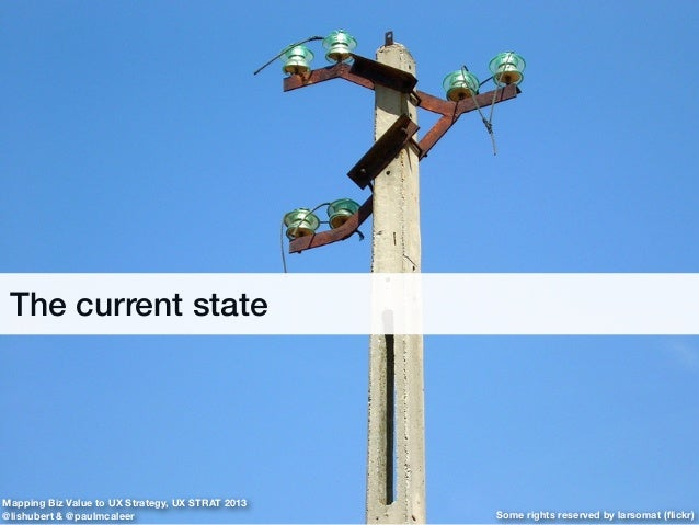 The current state Some rights reserved by larsomat (flickr) Mapping Biz Value to UX Strategy, UX STRAT 2013 @lishubert & @p...