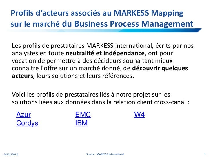 Profils d'acteurs associés au MARKESS Mappingsur le marché du Business Process Management <br />Les profils de prestataire...