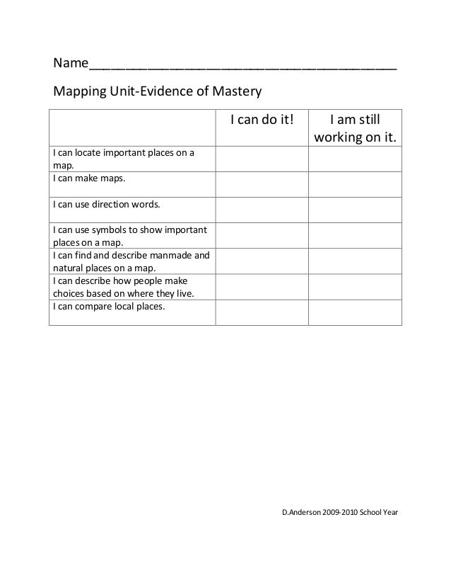 Name__________________________________________ Mapping Unit-Evidence of Mastery I can do it! I am still working on it. I c...