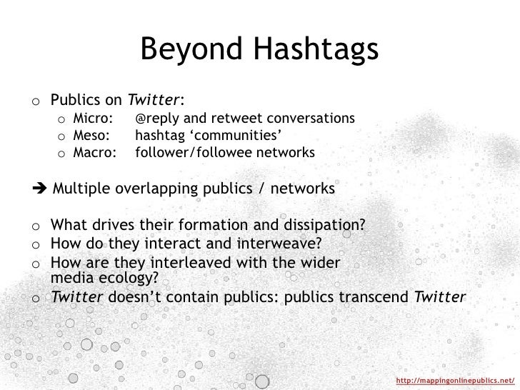 Beyond Hashtags<br />Publics on Twitter:<br />Micro:@reply and retweet conversations<br />Meso:hashtag 'communities'<br ...