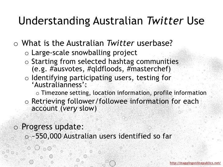 Understanding Australian Twitter Use<br />What is the Australian Twitteruserbase?<br />Large-scale snowballing project<br ...