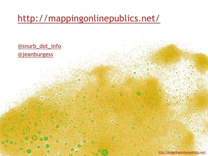 http://mappingonlinepublics.net/<br />@snurb_dot_info<br />@jeanburgess<br />