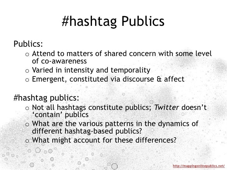 #hashtag Publics<br />Publics: <br />Attend to matters of shared concern with some level of co-awareness<br />Varied in in...