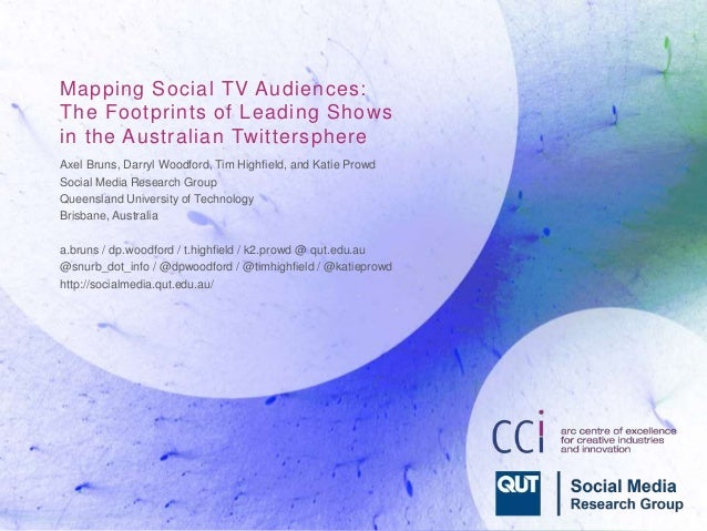 Mapping Social TV Audiences:  The Footprints of Leading Shows  in the Australian Twittersphere  Axel Bruns, Darryl Woodfor...
