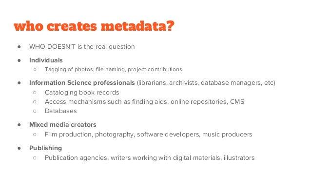 Reusing Collection Metadata as Data Slide 2