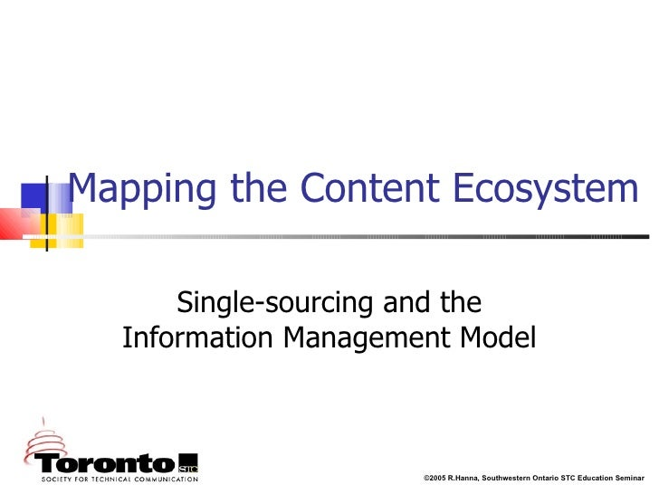Mapping the Content Ecosystem Single-sourcing and the Information Management Model