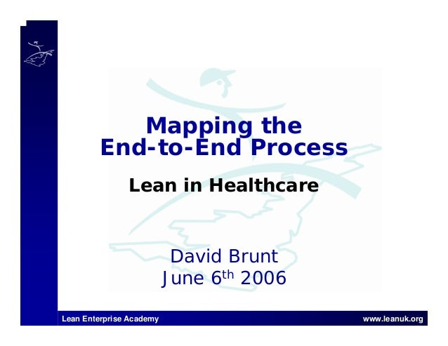 Lean Enterprise Academy www.leanuk.org David Brunt June 6th 2006 Mapping the End-to-End Process Lean in Healthcare
