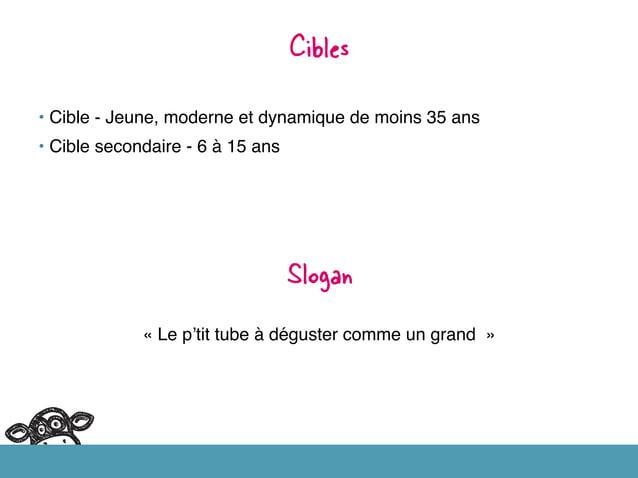 • Cible - Jeune, moderne et dynamique de moins 35 ans! • Cible secondaire - 6 à 15 ans ! Cibles   Slogan   «Le p'tit ...