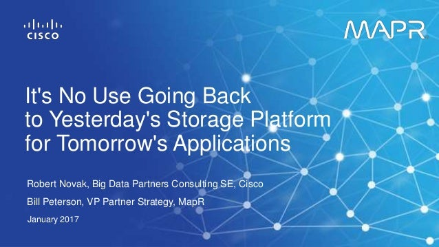 Robert Novak, Big Data Partners Consulting SE, Cisco Bill Peterson, VP Partner Strategy, MapR January 2017 It's No Use Goi...