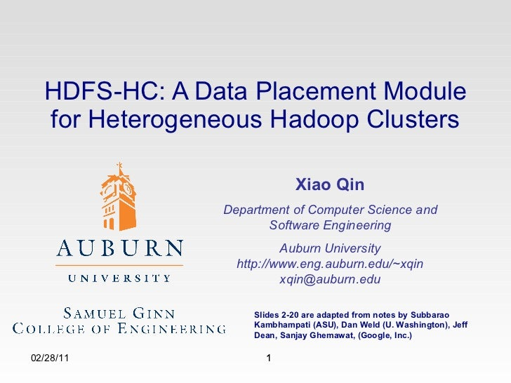 MapReduce: Simplified Data Processing on Large Clusters 02/28/11 Xiao Qin Department of Computer Science and Software Engi...