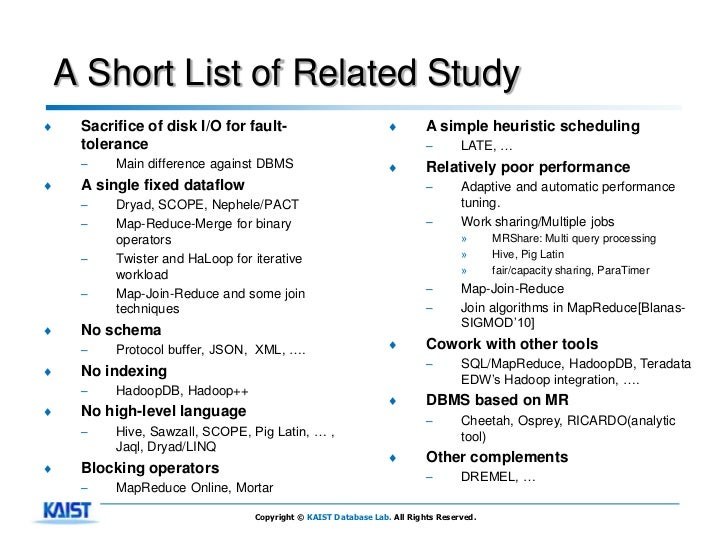 A Short List of Related Study♦    Sacrifice of disk I/O for fault-                           ♦        A simple heuristic s...