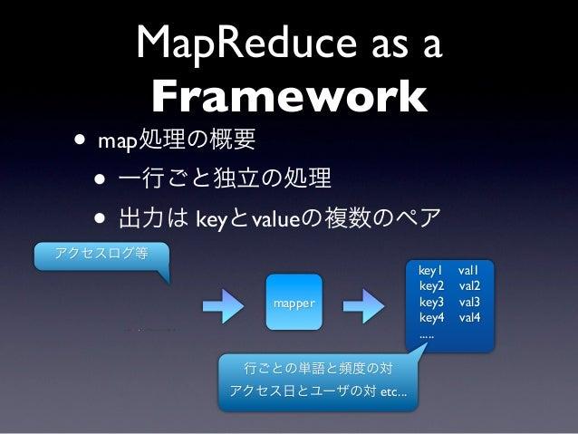 MapReduce as a     Framework • map処理の概要  • 一行ごと独立の処理  • 出力は keyとvalueの複数のペアアクセスログ等                               key1    v...