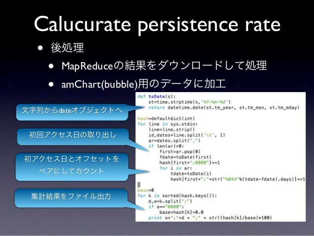 Calucurate persistence rate  •   後処理      •   MapReduceの結果をダウンロードして処理      •   amChart(bubble)用のデータに加工文字列からdateオブジェクトへ 初回ア...