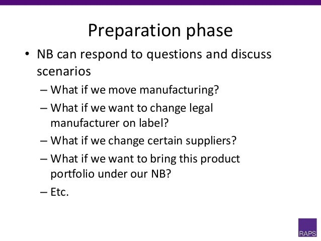 Preparation phase • NB can respond to questions and discuss scenarios – What if we move manufacturing? – What if we want t...