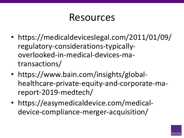M&A and medical devices presentation