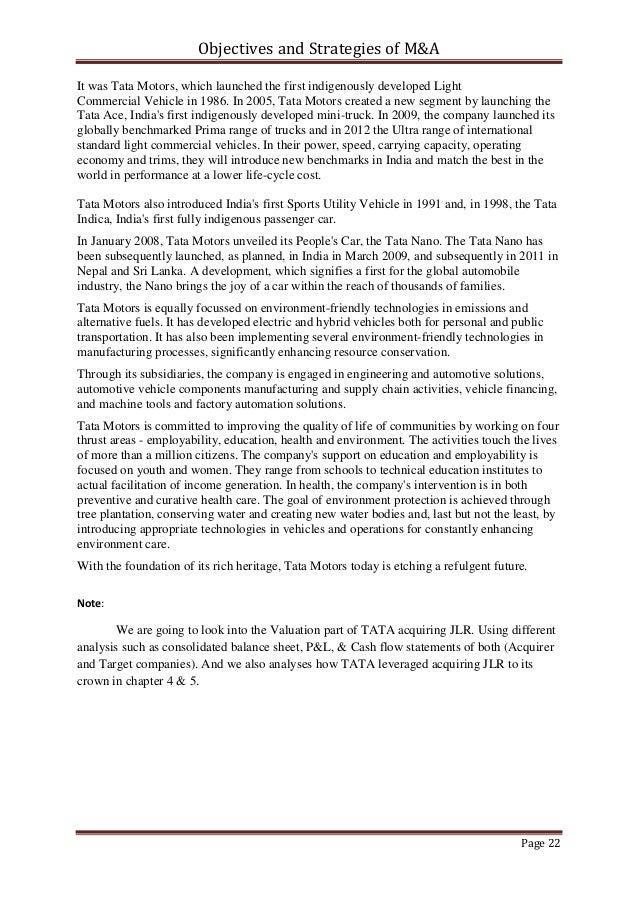 objectives of tata motors Nottingham business school ciism (busi 42632) assignment critical analysis of the international strategic issue of tata motors ltd to set up a dea.
