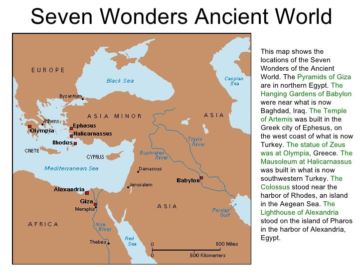 Pics For > Seven Wonders Of The Ancient World Map