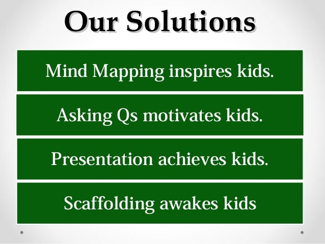 Our SolutionsOur Solutions Mind Mapping inspires kids. Asking Qs motivates kids. Presentation achieves kids. Scaffolding a...
