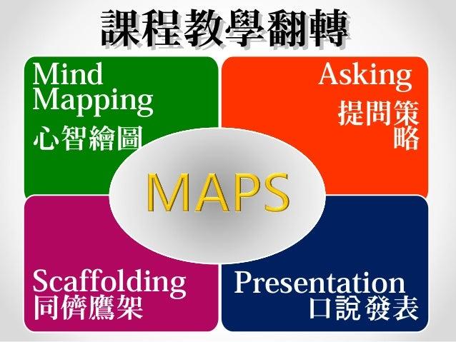 Mind Mapping 心智繪圖 Asking 提問策 略 Presentation 口 發表說 Scaffolding 同儕鷹架 課程教學翻轉課程教學翻轉