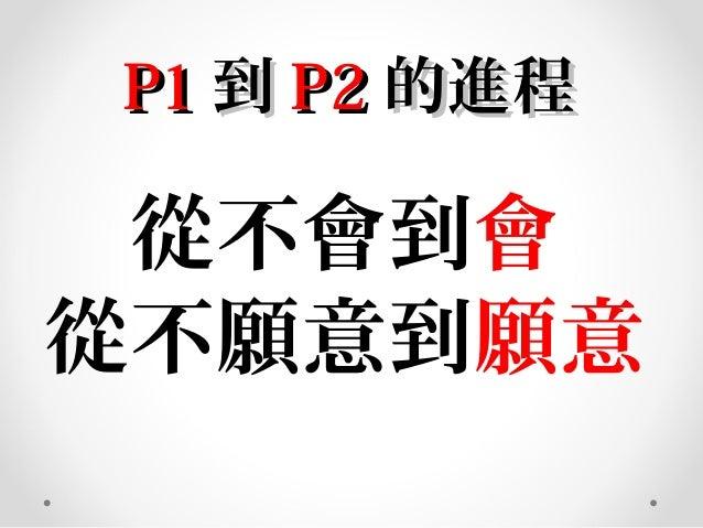P1P1 到到 P2P2 的進程的進程 從不會到會 從不願意到願意