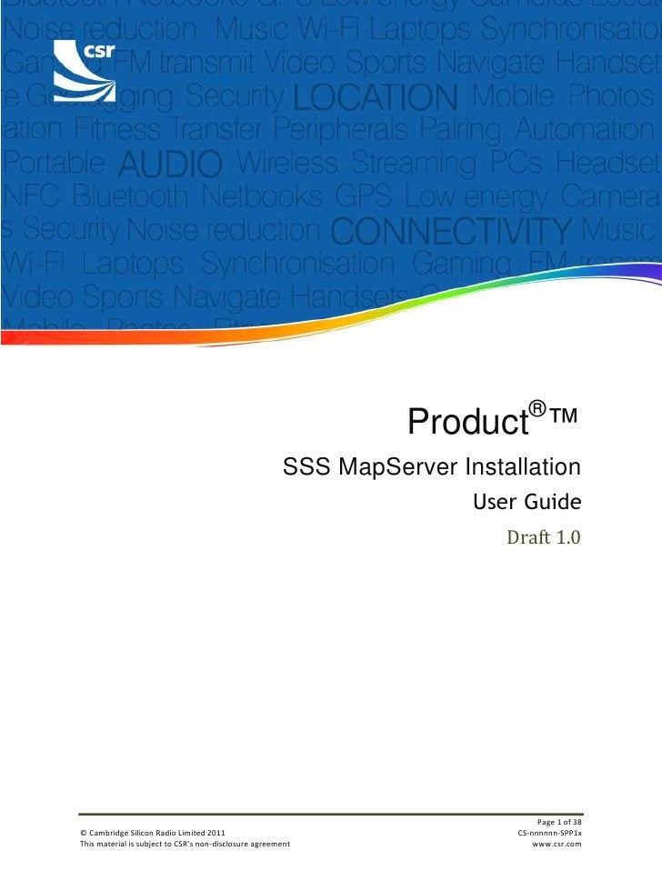 Product®™<br />SSS MapServer Installation<br />User Guide<br />Draft 1.0<br /> <br />Document History<br />RevisionDateHis...