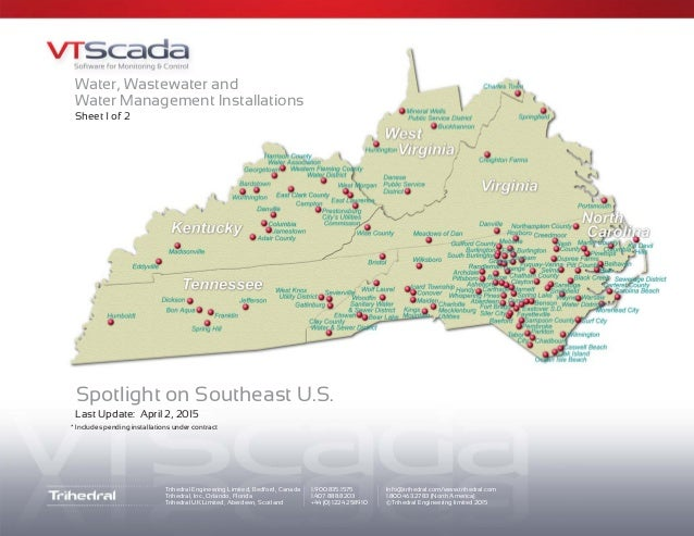 Map of VTScada Installations in Southeastern US