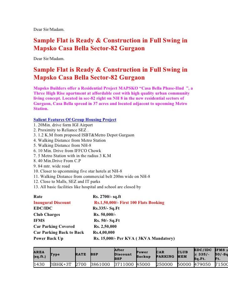 Dear Sir/Madam.  Sample Flat is Ready & Construction in Full Swing in Mapsko Casa Bella Sector-82 Gurgaon Dear Sir/Madam. ...