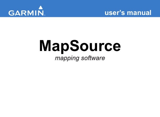 user's manualMapSource mapping software