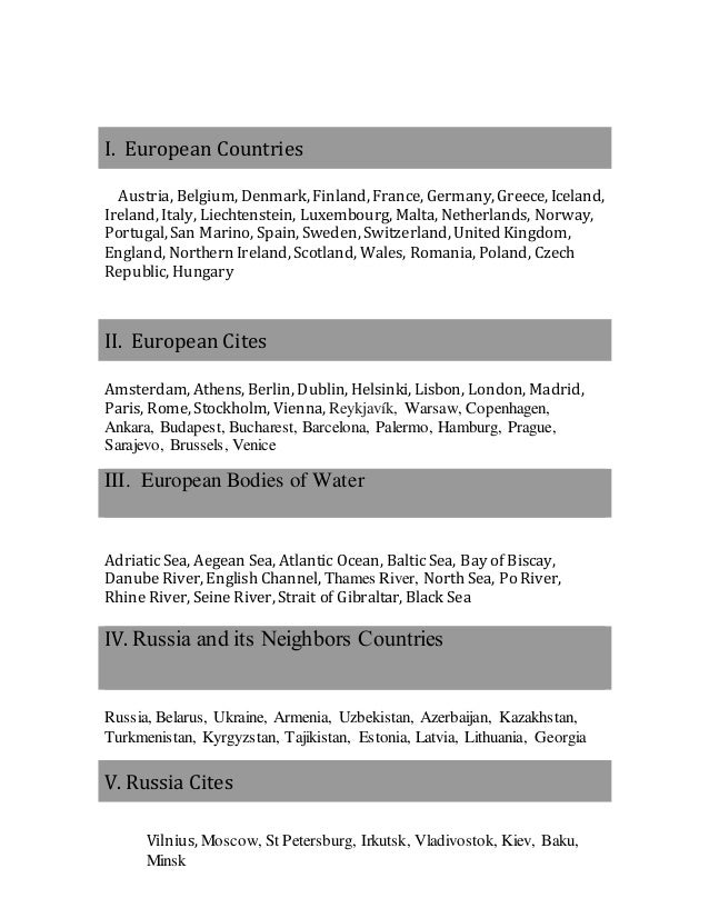 Map Test Study Guide Europe And Russia - Georgia map test