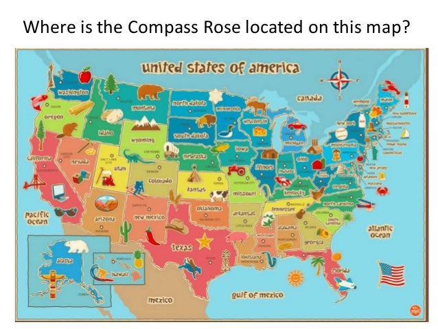 Map Titles And Symbols - Us map with compass