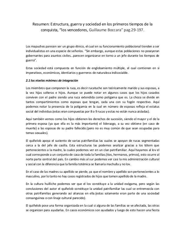 """Resumen: Estructura, guerra y sociedad en los primeros tiempos de la         conquista, """"los vencedores, Guillaume Boccara..."""
