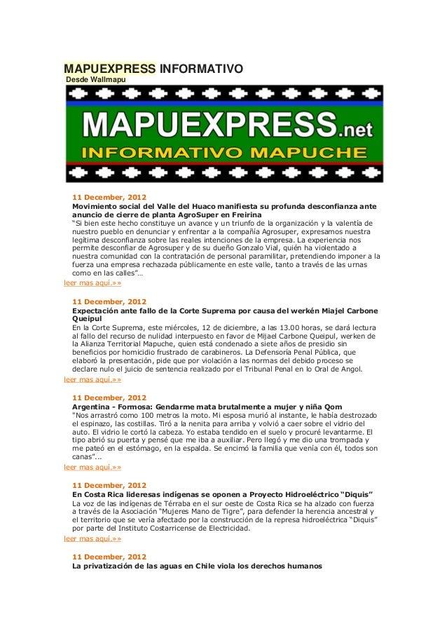 MAPUEXPRESS INFORMATIVODesde Wallmapu    11 December, 2012    Movimiento social del Valle del Huaco manifiesta su profund...