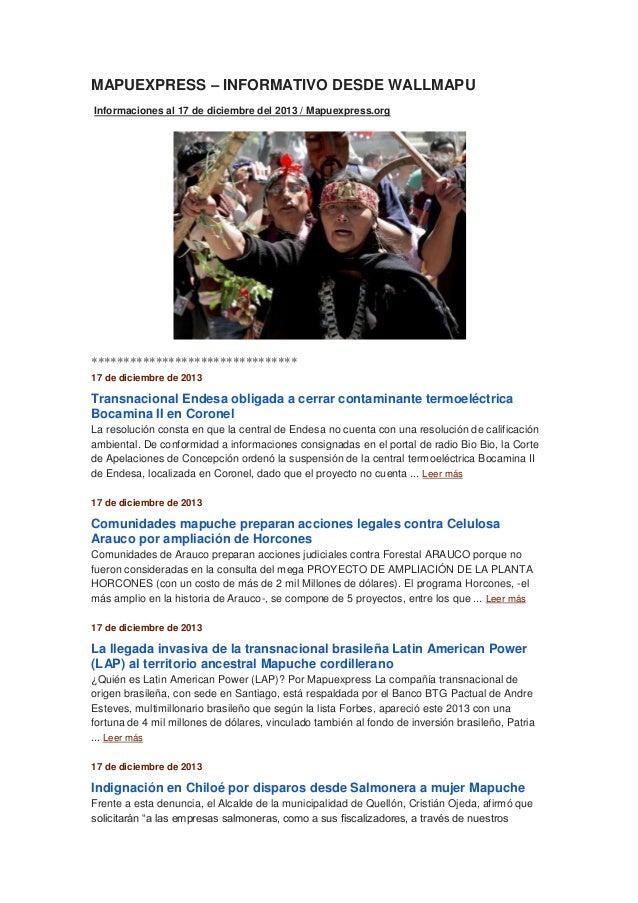 MAPUEXPRESS – INFORMATIVO DESDE WALLMAPU Informaciones al 17 de diciembre del 2013 / Mapuexpress.org  ********************...
