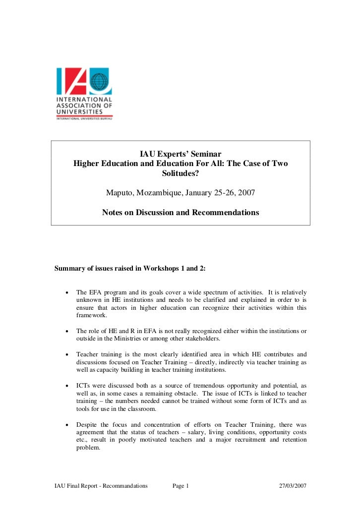 IAU Experts' Seminar       Higher Education and Education For All: The Case of Two                             Solitudes? ...