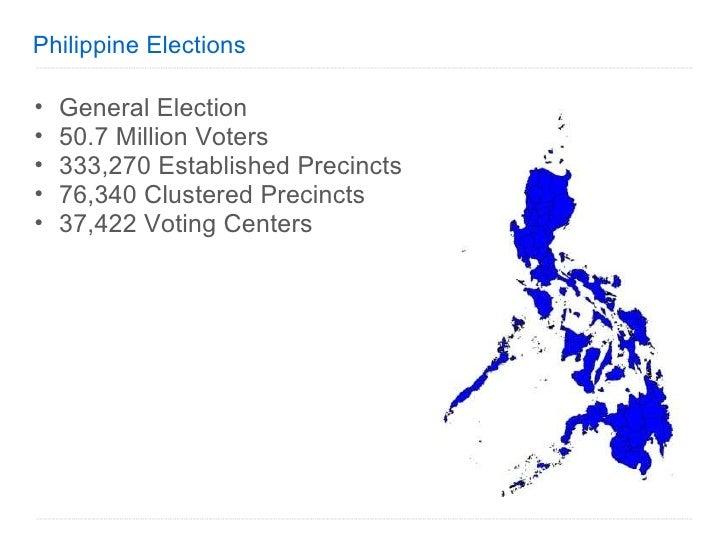 Philippine Elections <ul><ul><li>General Election </li></ul></ul><ul><ul><li>50.7 Million Voters </li></ul></ul><ul><ul><l...
