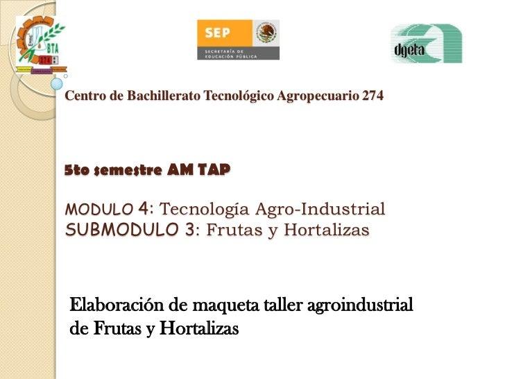 Centro de Bachillerato Tecnológico Agropecuario 2745to semestre AM TAPMODULO 4: Tecnología Agro-IndustrialSUBMODULO 3: Fru...