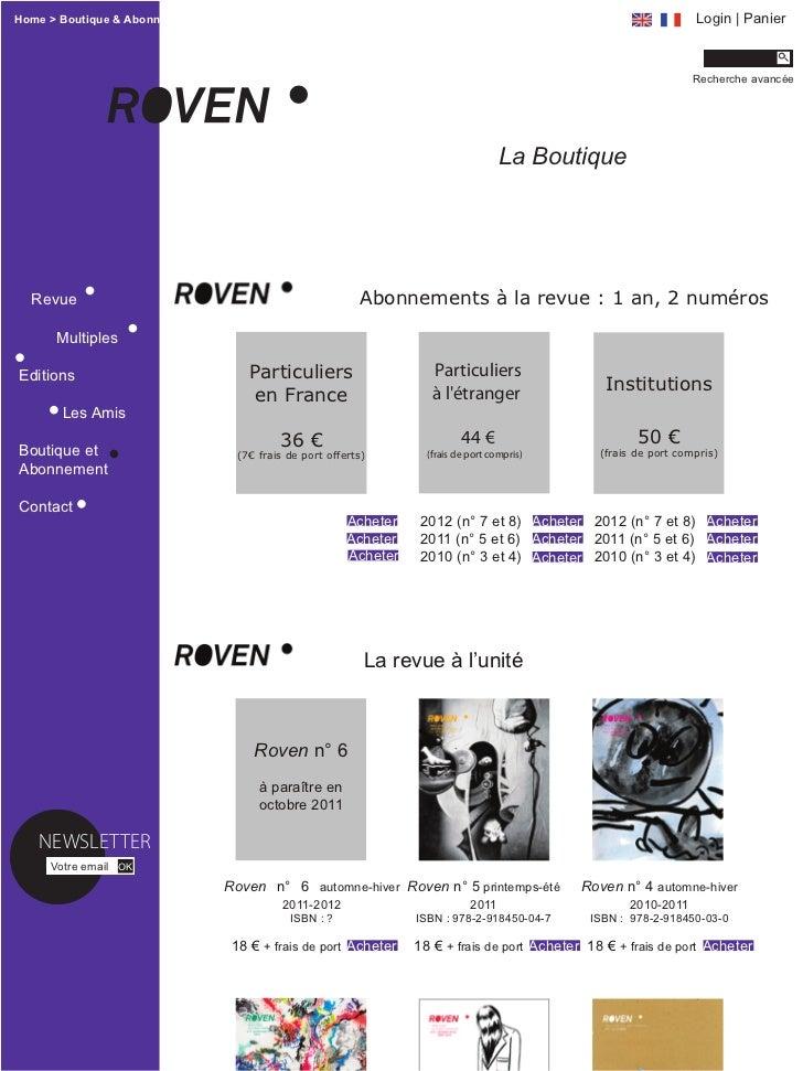 Home > Boutique & Abonnement                                                                                      Login | ...